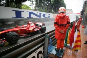 A marshal at the Monaco Grand Prix