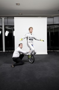Nico Rosberg Juggling and riding a unicycle.... Ok so we cheated for the photos, but he really can do it.
