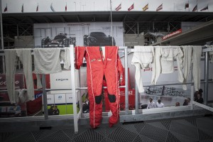 Timo's race suit getting some fresh air after a sweaty night