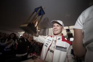 A triumphant Nico Hülkenberg returns to the team's motorhome