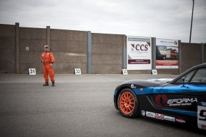 Journalist James Taylor races in the Ginette series at Donington Park.