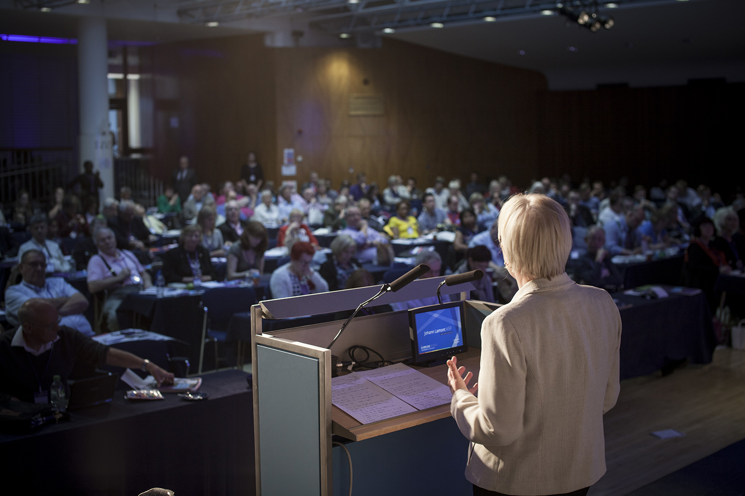 The leader of the Scottish Labour Party Johann Lamont addresses the congress at the Co-operative Party Annual Conference 2014