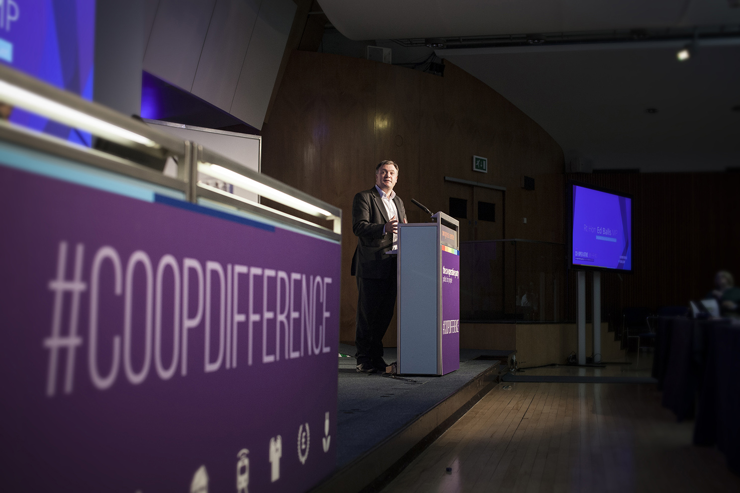 Shadow chancellor Ed Balls on the podium at the Co-operative Party Annual Conference 2014