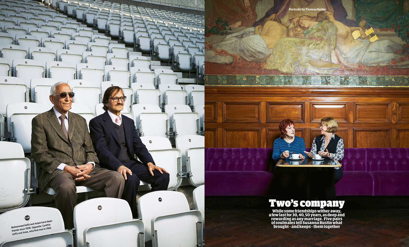 Pages from the 'Two's company' feature in the Guardian Weekend Magazine.