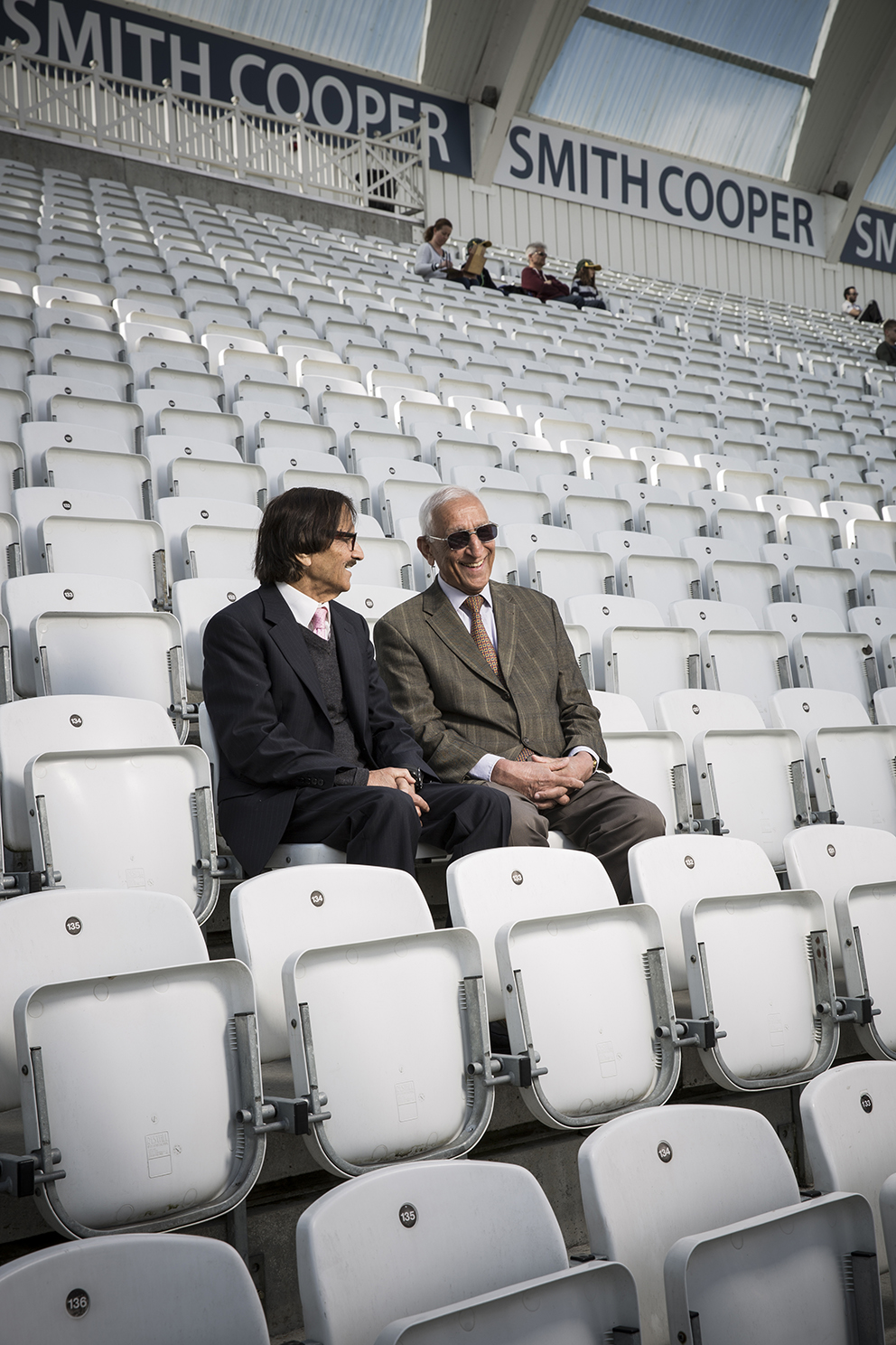 Aslam Lone and Mohammed Irshad enjoying the cricket at Trent Bridge, shot for the Two's Company feature for the Guradian Weekend