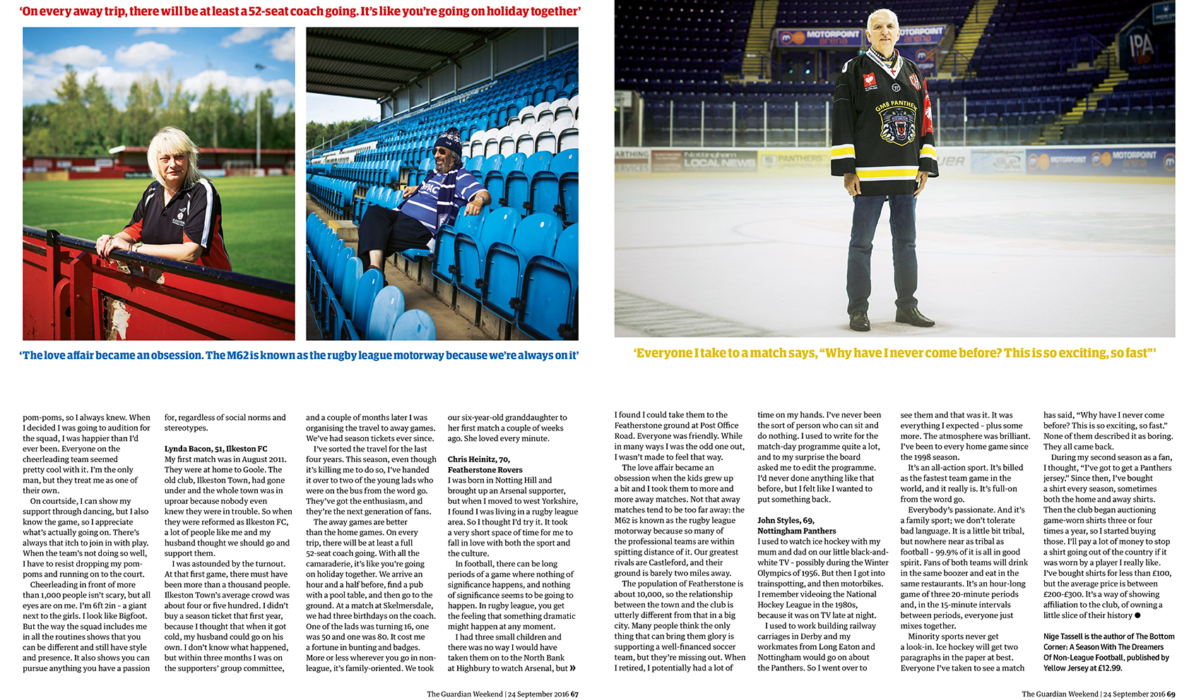 Pages from the 'Hopelessly devoted' feature in the Guardian Weekend Magazine.